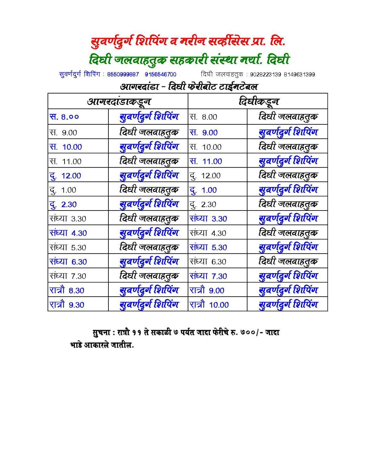 Dighi Agardande Time Table